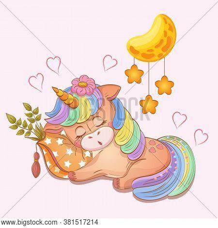 Sleeping Baby Girl Unicorn. Hand Drawn Vector Illustration In Cartoon Style. Pastel Drawing Of Cute