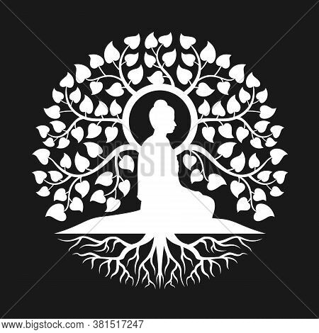 White Side View Buddha Meditation Under Bodhi Tree With Leaf And Root Abstract Circle Style Vector D