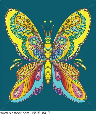Butterfly Coloring Book For Adults Vector Illustration Isolated On Turquoise. Anti-stress Coloring.