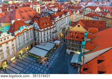Top Aerial View Of Prague Old Town Stare Mesto Historical City Centre With Red Tiled Roof Buildings