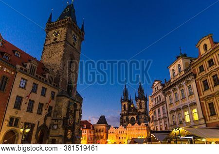 Prague Old Town Square Stare Mesto Historical City Centre. Astronomical Clock Orloj And Tower Of Cit