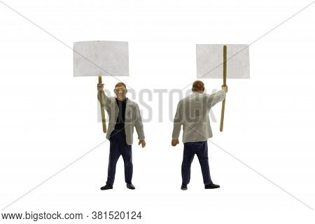 Miniature People , Protester Isolated On White Background