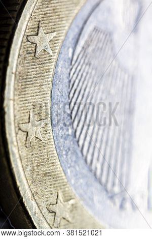 Two Euro Coin Macro Detail With German Coats Of Arms Detail . German 2 Euro Coin Macro View. Europea