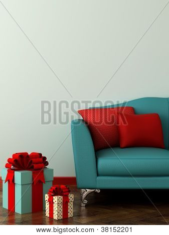 Blue Sofa And Gifts