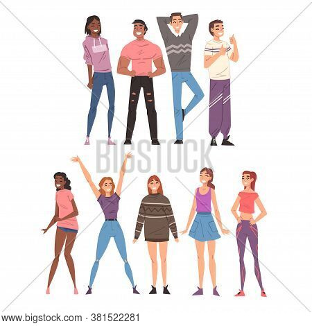 Happy Smiling People Set, Cheerful Guys And Girls Characters Having Fun Wearing Casual Clothes Carto