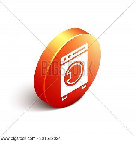 Isometric Washer Icon Isolated On White Background. Washing Machine Icon. Clothes Washer - Laundry M