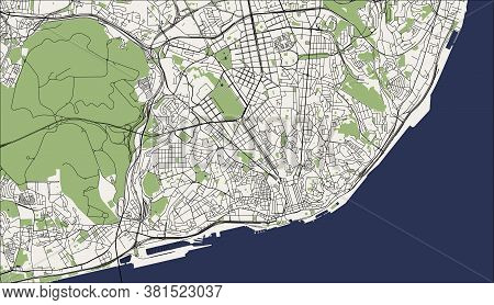 Map Of The City Of Lisbon, Portugal