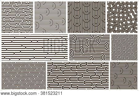 Lined Seamless Vector Patterns With Twisted Lines, Geometric Abstract Backgrounds Set, Stripy Net, O