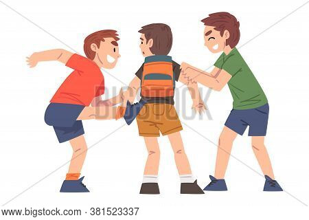 Boy Bullied By Others, Two Boys Mocking, Laughing And Attacking Weaker Victim, Mockery And Bullying
