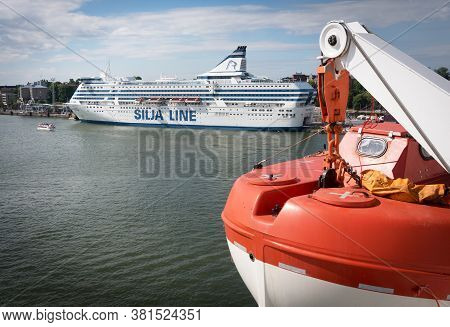 Helsinki, Uusimaa, Finland, Juny 27, 2015, City Panorama, Ferry And Silja Line Advertising Terminal.