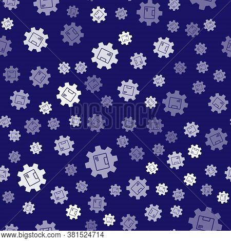 White Gear Wheel With Package Box Icon Isolated Seamless Pattern On Blue Background. Box, Package, P