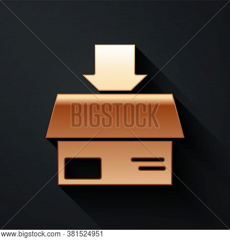 Gold Carton Cardboard Box Icon Isolated On Black Background. Box, Package, Parcel Sign. Delivery And