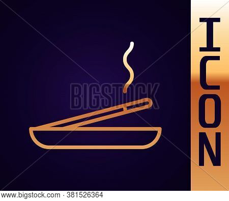 Gold Line Scented Spa Stick On A Wooden Stand Icon Isolated On Black Background. Incense Stick. Cosm