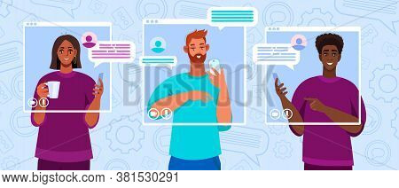 Virtual meeting illustration with diverse freelancers communicating online. Video call, group chat or conference concept with men, women, smartphones. Virtual meeting banner with abstract messages