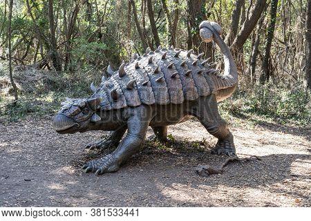 Rome, Italy - August 8, 2020: Tarchia Gigantea Herbivorous Ankylosaurid Dinosaur From The Late Creta