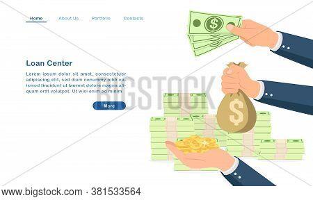 Website Landing Page Template Cartoon Bank Loan Center Borrow Lend Money Concept