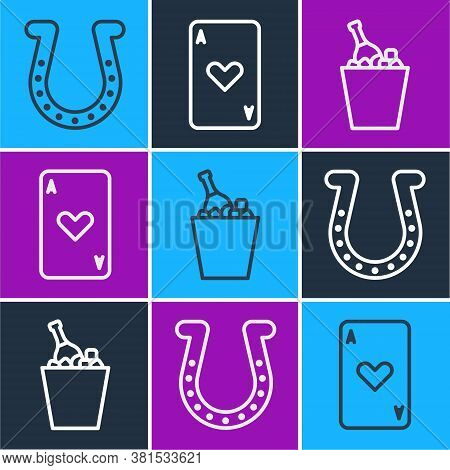 Set Line Horseshoe, Champagne In An Ice Bucket And Playing Card With Heart Icon. Vector