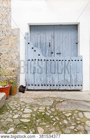 Tipical House Door In Candelario, Salamanca, Spain