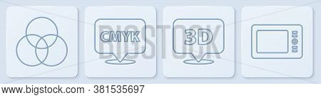 Set Line Rgb And Cmyk Color Mixing, Speech Bubble With Text 3d, Speech Bubble With Text Cmyk And Gra