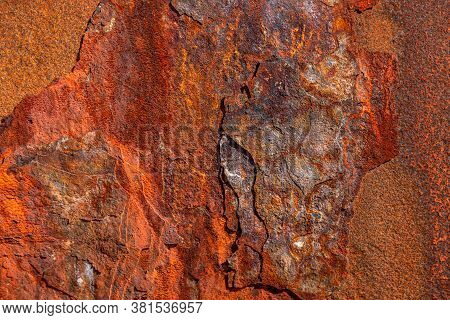 Grunge Rusty Metal Texture, Rust And Oxidized Metal Background. Old Metal Panel. Large Rust Backgrou