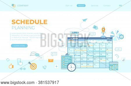 Planning Schedule Online App Web Page Interface Planner, Organizer, Calendar, Project Plan With Task