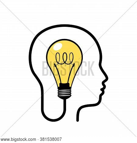 Human Head With Glowing Light Bulb Inside. Concept Of Unique Idea, Innovation And Creative Thinking.