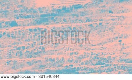 Blue And Pale Pink Patchy Background, Wooden Texture, Panorama