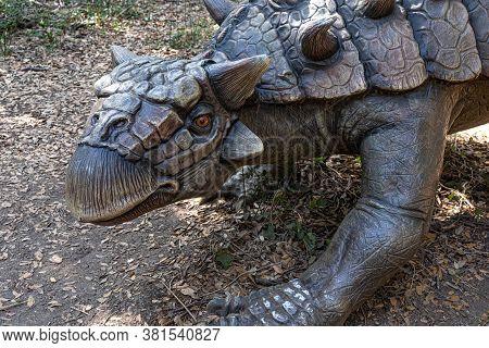 Rome, Italy - August 8, 2020: Tarchia Gigantea Ankylosaurid Dinosaur Model Exhibited At Dinosaurs In