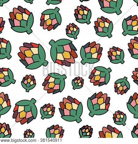 Artichoke Seamless Pattern. Includes Vector Artichoke For Use As  Wallpaper, Textiles, Banner, Wrapp