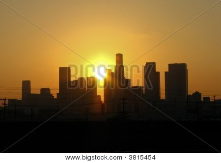 Sun Set Behind City