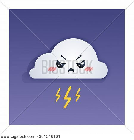 Kawaii Cute Offended Angry Cloud With Lightning, Thunderstorm
