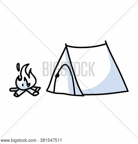 Hand Drawn Stickman Tent And Campfire Concept. Simple Outdoor Vacation Doodle Icon For Staycation, F