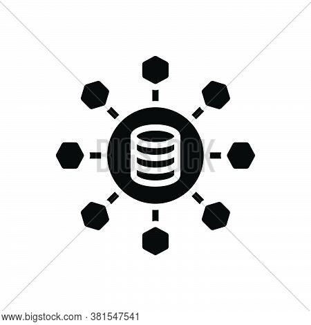 Black Solid Icon For Sharing Allocation Distribution Partaking Data Link Database