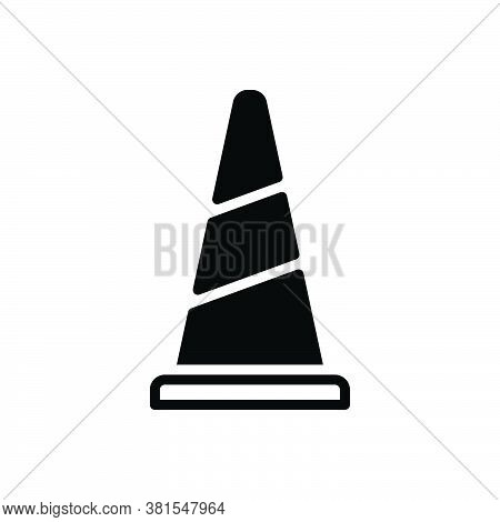 Black Solid Icon For Cone Safety Traffic Road Construction Caution Alert Barrier Boundary Danger