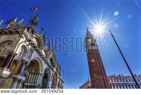 The Campanile Bell Tower Under The Sun In The Piazza San Marco Saint Mark's Square In Venice Italy I