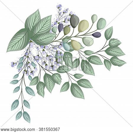 Blue Buds Flowers With Leaves Bouquet Painting Design, Natural Floral Nature Plant Ornament Garden D
