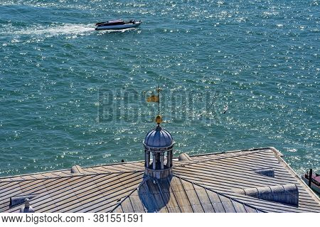 Colorful Grand Canal And Ferryboat Terminal With Motorboat Venice Italy.  This Ferryboat Terminal Is