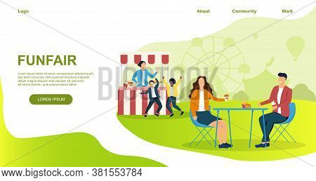 Vector Illustration Of Funfair. Happy People Eating And Resting On Nature Near Amusement Park. Webpa