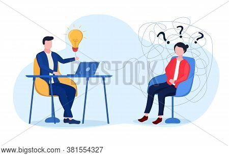 Concept Of Psychotherapy. Woman On Reception At Psychiatrist In Office. Flat Vector Illustration