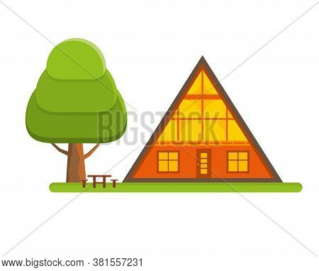 Cozy Cabin House In A Woods. Family Gateway Lodge In A Forest. Vacation Home Outdoors. Vector Illust