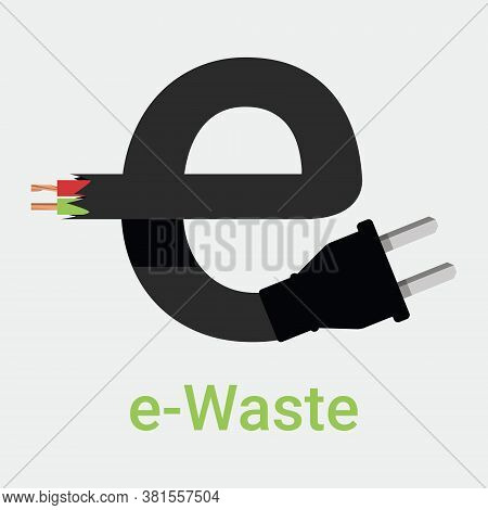 E-waste Garbage Icon. Old Discarded Electronic Waste To Recycling Symbol. Ecology Concept. Design By