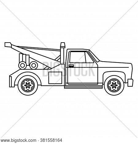 Silhouette Of A Tow Truck, Black And White Tow Truck Logo, Car Symbol