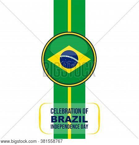 Brazil Flag Round Vector Illustration For Brazil Independence Day Design.