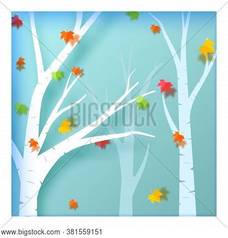 Autumn Season In The Forest In Paper Art Style. In Autumn, White Trees And Color Leaves Are Cut Out