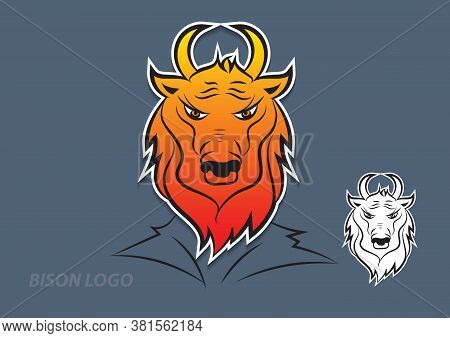 Bison logo vector design, sign, animal icon vector illustration for corporate, cow cartoon, Bison logo, Bison sign, Bison icon, Bison illustration