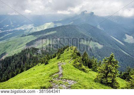 View From Sina Peak, Demanovska Valley, Low Tatras Mountains, Slovak Republic. Hiking Theme. Seasona