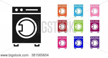 Black Washer Icon Isolated On White Background. Washing Machine Icon. Clothes Washer - Laundry Machi