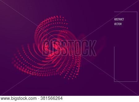 Abstract Wavy Particle Background Made Of Particles With Depth Of Field. Technology Vector Illustrat