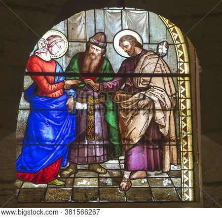 Nazareth, Israel. January 26, 2020: St. Joseph's Church, Stained Glass Window, Details. The Wedding