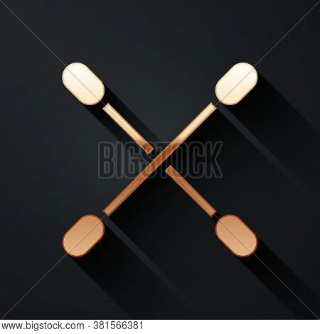 Gold Cotton Swab For Ears Icon Isolated On Black Background. Long Shadow Style. Vector Illustration